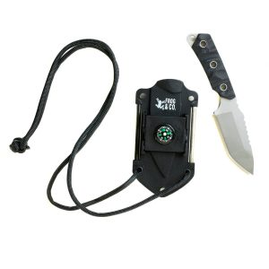 Survival Neck Knife with Sharpener, Fire Starter & Compass by Frog & CO